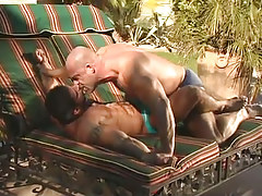 Mature muscle faggots kiss each other outdoor